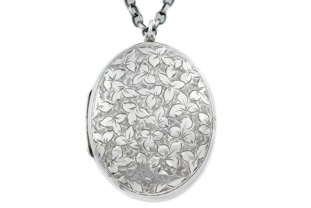 Large Victorian Engraved Silver Oval Locket c.1882