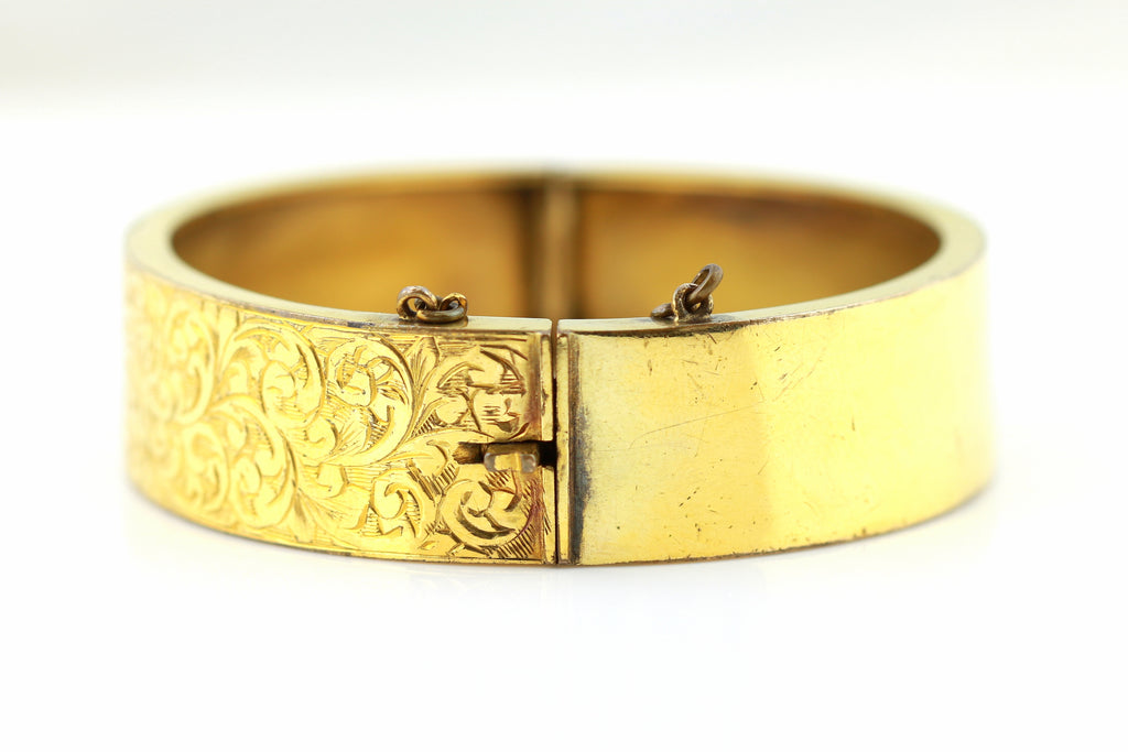 Fine Gold Plated Victorian Hinged Cuff Bangle - c.1890