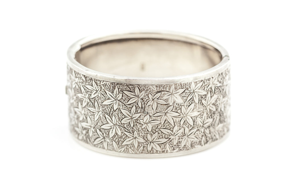 Sterling Silver Victorian Cuff Bangle with Ivy Leaf Engraving