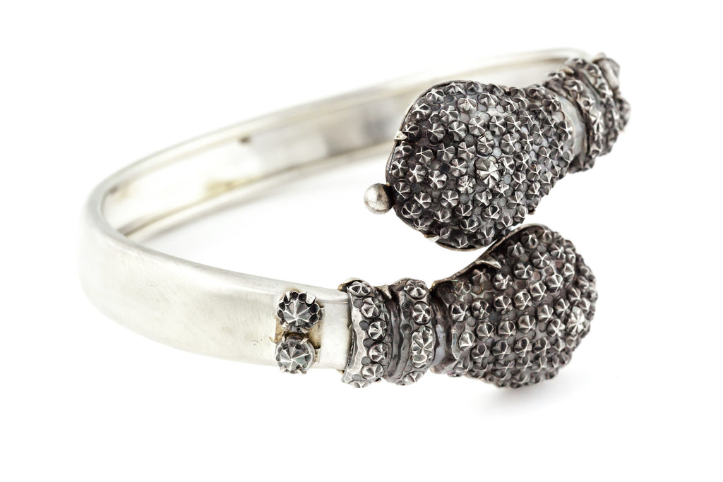 "RESERVED fr ""H""!- Antique Silver Bypass Bangle with ""Studs"" c.1882"