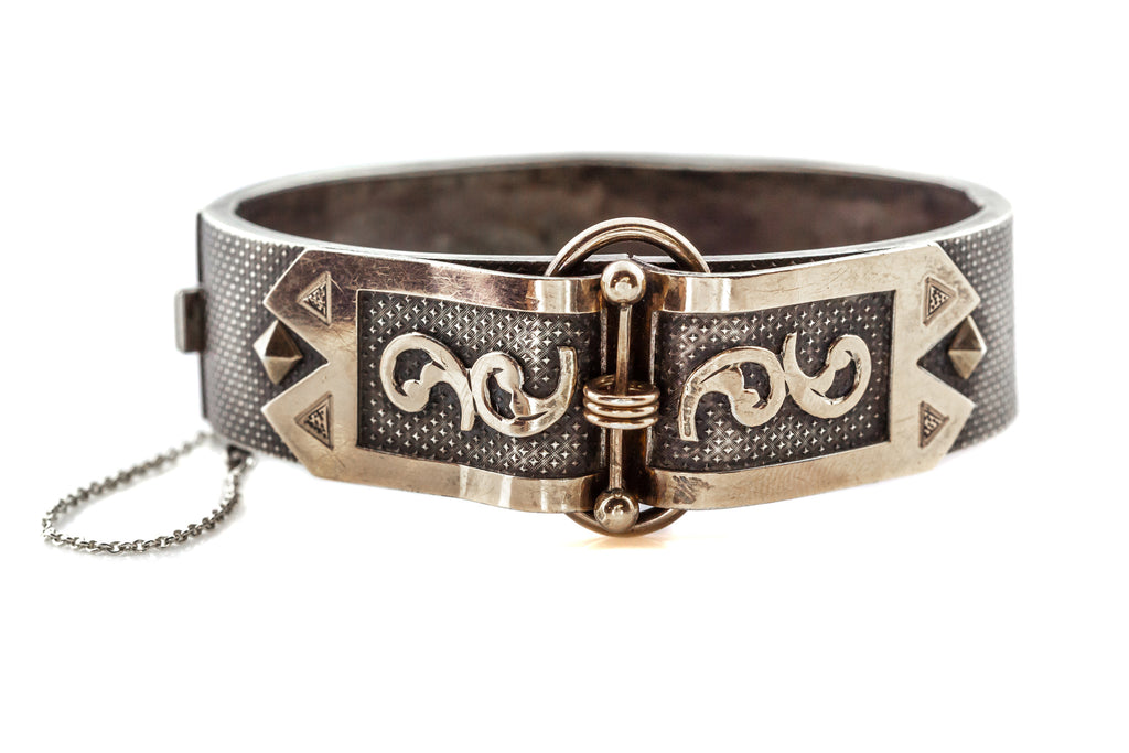 Rare Victorian Buckle Bangle in Silver and Gold c.1880