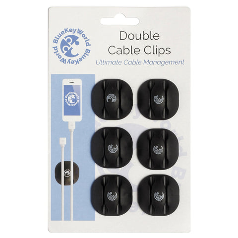 Double Cable Clips - Cable Organizer - Cord Management - Wire Management System - 6 Pack - Self Adhesive - Durable - Model CM1007 From Blue Key World
