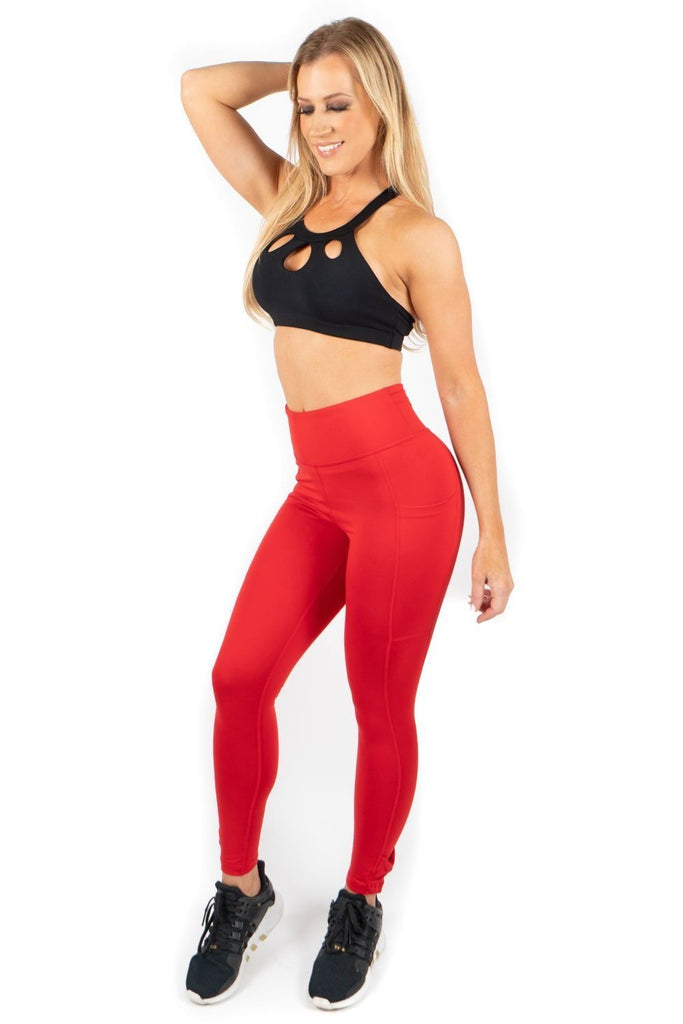 Red Leggings with Pockets-4