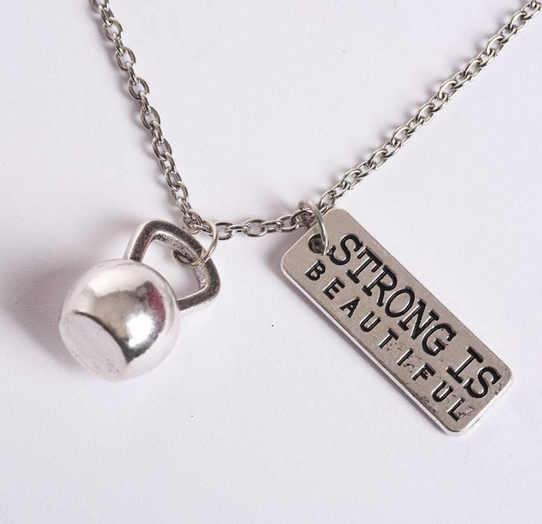 Strong is Beautiful Kettlebell Necklace