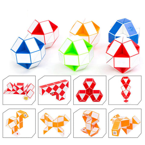 Magic Snake Red, Blue or Green Twist Cube Puzzle Twisty Toy Fun Home Brain Teaser