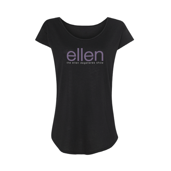 ellen Show Ladies Scoop Neck Tee- Black