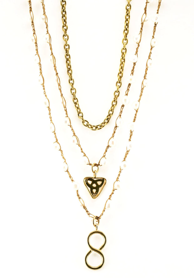 """CHARMED"" Love Infinity Multi Layer Pearl Chains Necklace - 20-25"""