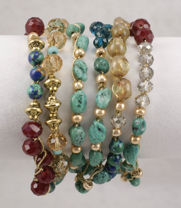 """MANTRA"" Turquoise Garnet Crystal and Quartz Convertible Bracelet/Necklace - 48"""