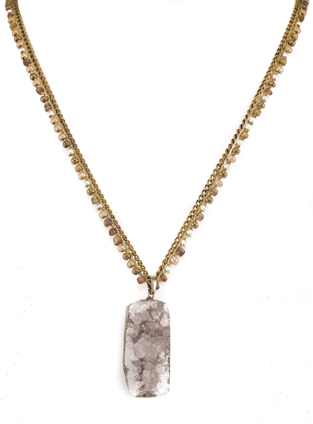 """CHARMED"" Mixed Chain Druzy Pendant Necklace - 38"""