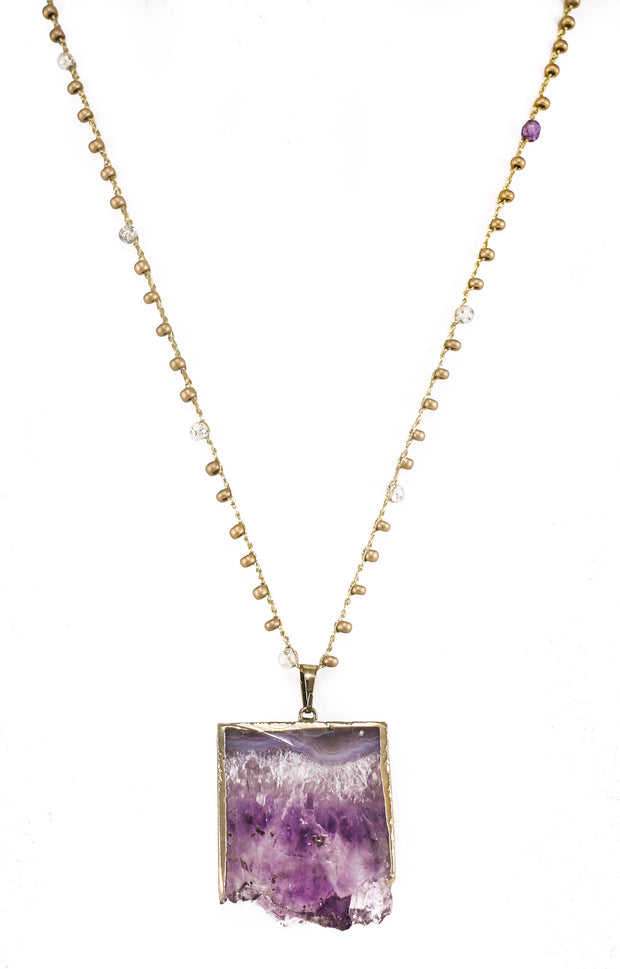 """CHARMED"" Raw Amethyst Beaded Crochet Necklace - 27"""
