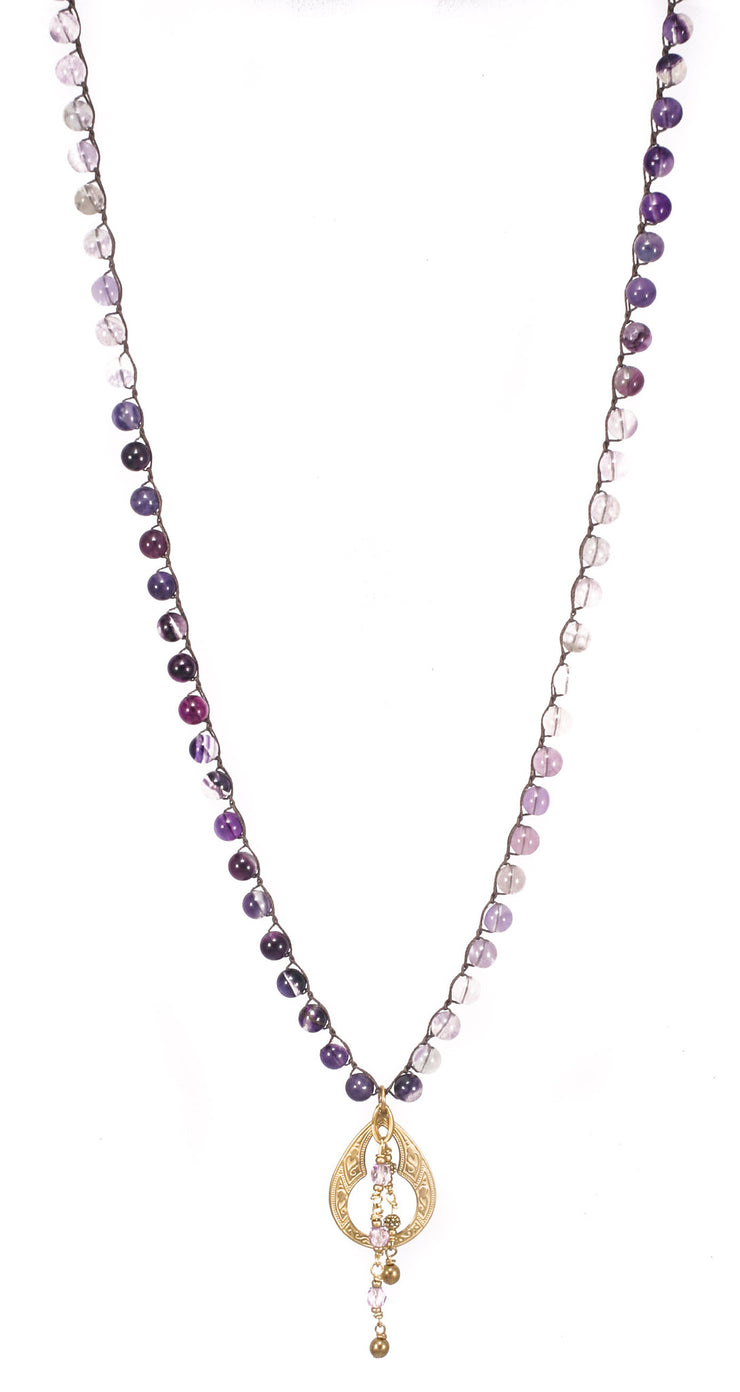 """TRAVELER"" Fluorite Beaded Necklace With Morrocan Teardrop Pendant - 37"""