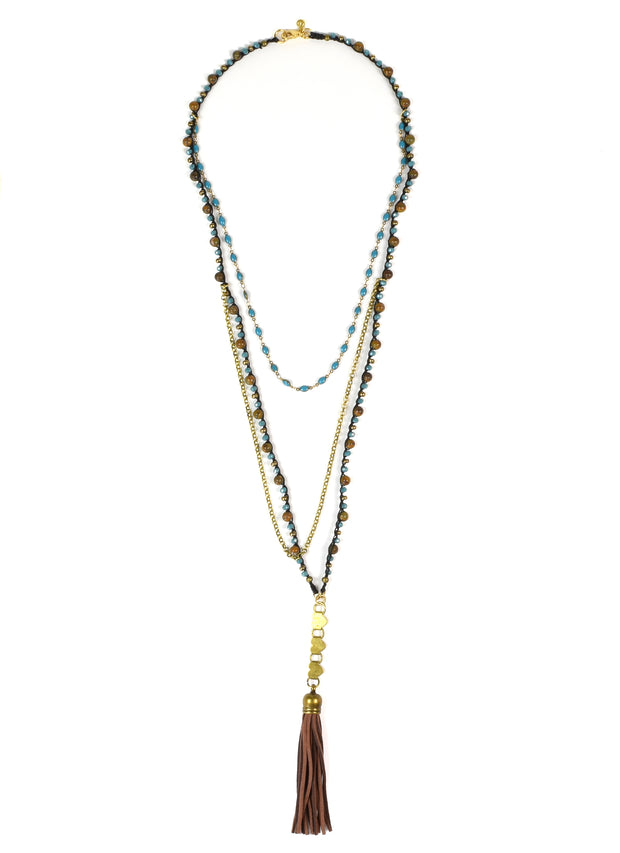 """Bohemian"" Multi Chain Layered Hearts and Suede Tassel Long Necklace - 39"""