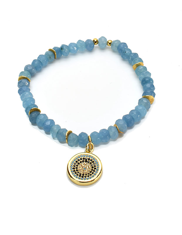 """CHARMED"" Pave Disc Charm Raw Aquamarine Faceted Bead Stretch Bracelet"