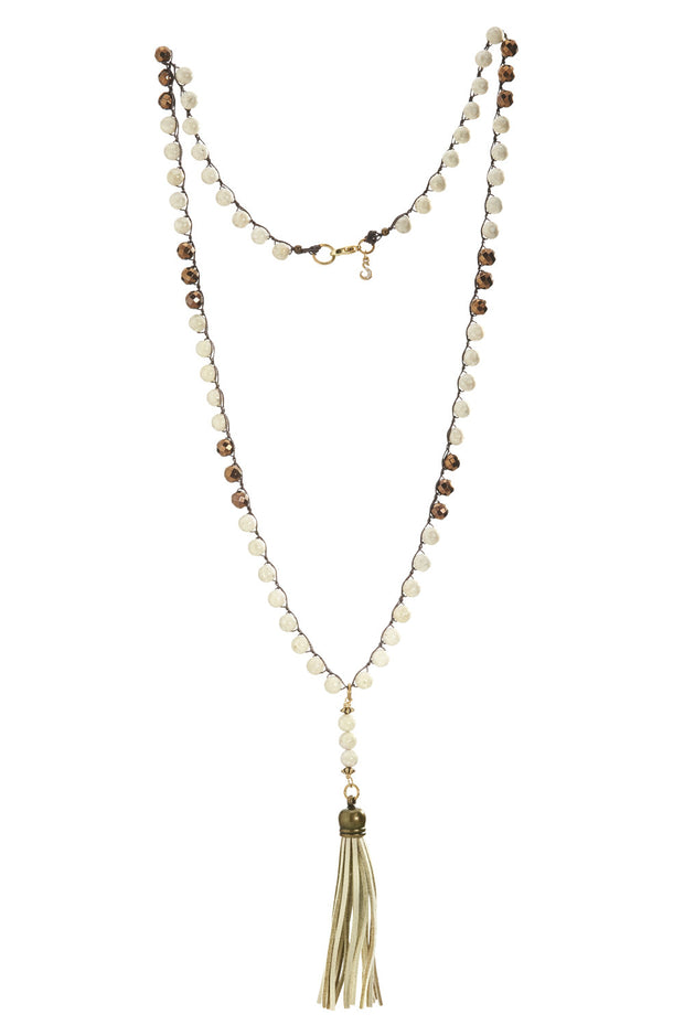 """CHARMED"" Riverstone and Copper Necklace With Vanilla Suede Tassel - 42"""