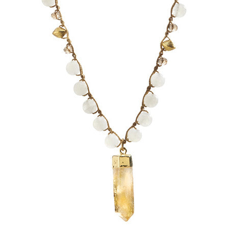 """CHARMED"" Snow Quartz Beaded necklace with Raw Citrine Crystal Cut Pendant - 40"""