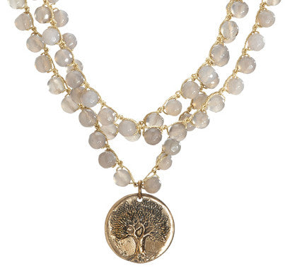 """CHARMED"" Gray Jasper Three Layered Tree of Life Pendant Necklace - 18"""