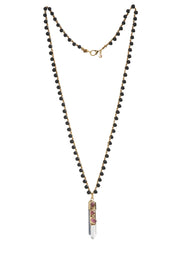 """CHARMED"" Matte Onyx Crochet Chain With Crystal Point Pendant"