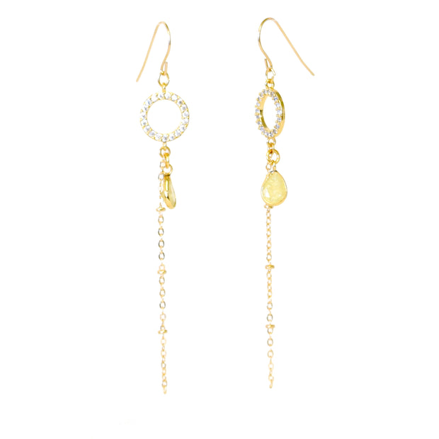 """SHIMMER"" Open Pavé CZ Circle with Citrine Teardrop Charm Chain Drop Earrings"