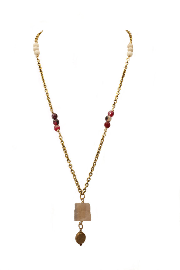 """CHARMED"" Riverstone and Pink Beaded Gemstone Pendant Necklace - 40"""