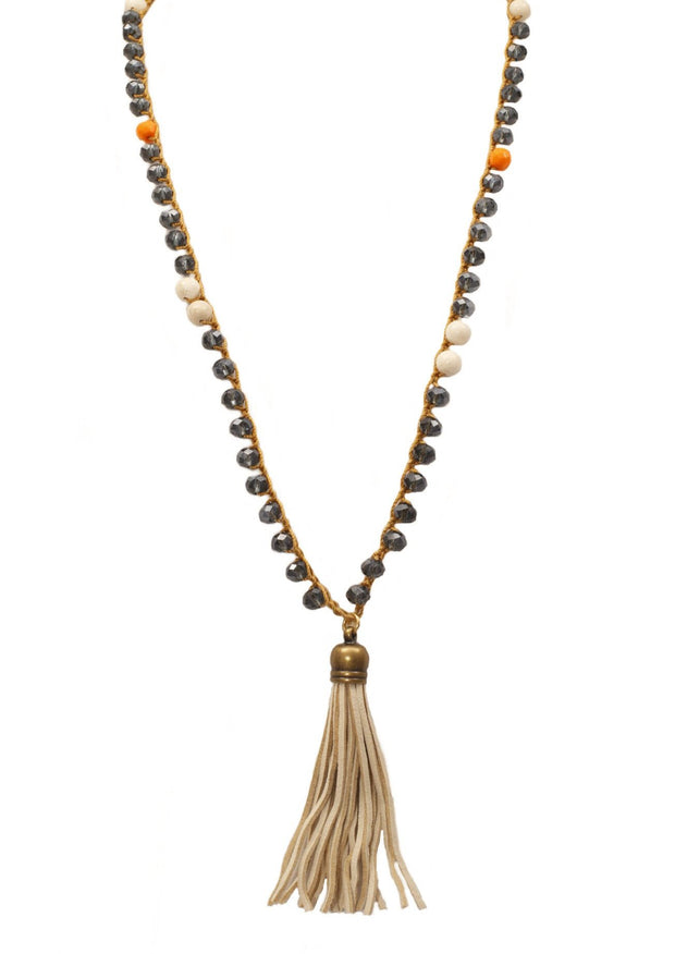 """CHARMED"" White Suede Bell Tassel Long Layering Necklace - 42"""