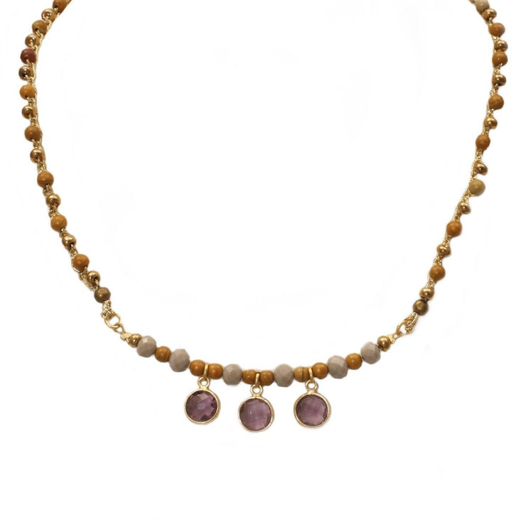 """BOHEMIAN"" Tiger Jasper and Amethyst Beaded Collar Necklace - 18"""