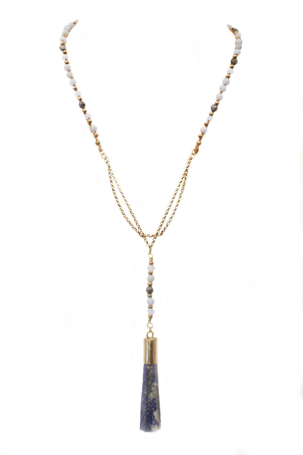"""CHARMED"" Sodalite Pillar and Angelite Crystal Point Layering Necklace - 40"""