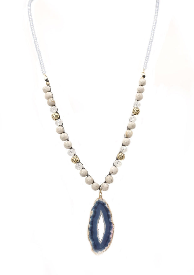 """BOHEMIAN"" Blue Druzy Agate and Snow Agate Necklace - 30"""