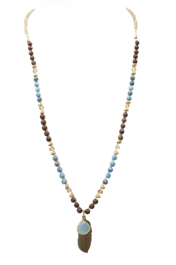 """CHARMED"" Chalcedony Drop and Leaf Long Beaded Necklace - 40"""