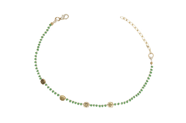"""CHARMED"" Sweet Mint Beaded Floral Choker Necklace"