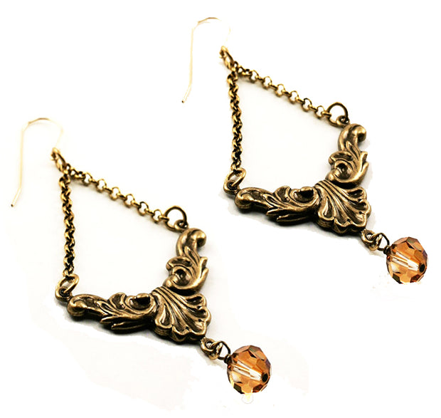 """BOHEMIAN"" Antiqued Flourish Earrings With Swarovski Topaz Crystal Bead Drop."