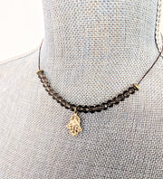 """Charmed"" Hamsa Smoky Quartz Cotton Cord Collar Necklace, 18"""