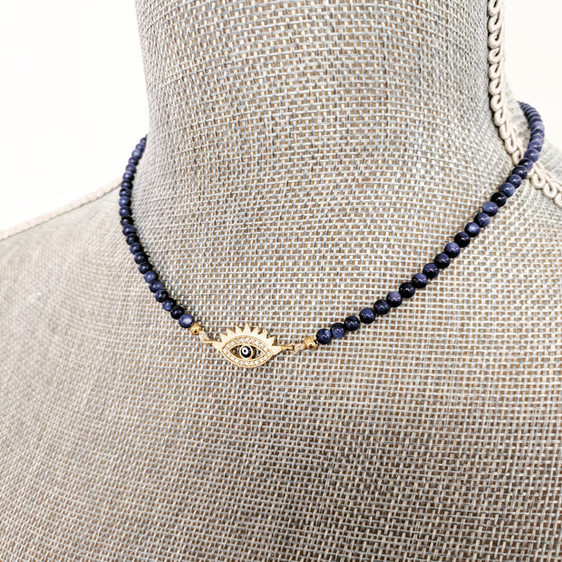 """SHIMMER"" Pavé CZ Evil Eye Protection Pendant Collar Gemstone Necklace"