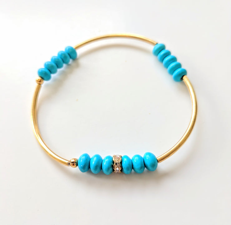 """Charmed"" Turquoise and CZ Golden Curves Stretch Bracelet"