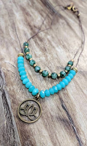 """MANTRA"" Double Layer Agate and Dyed Jade Lotus Necklace"