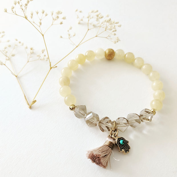 """CHARMED"" Collection Hamsa Charm Aragonite and Crystal Beaded Stretch Bracelet"