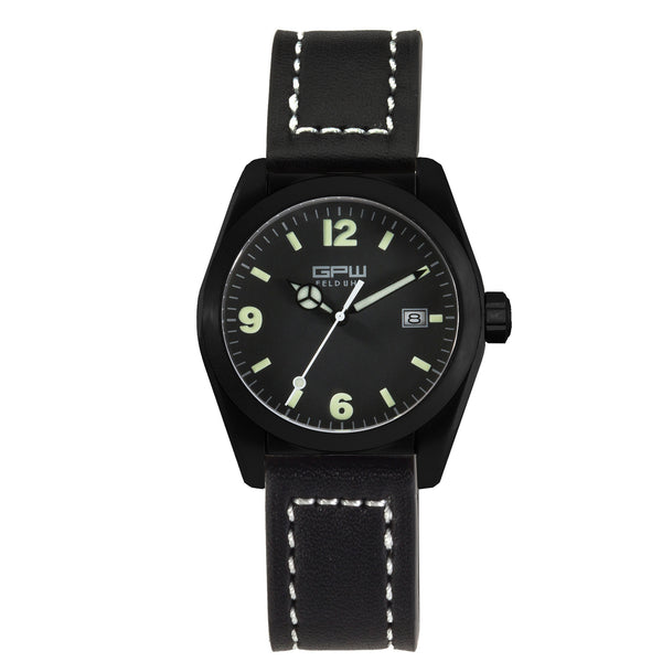 German Military Black Titanium Watch. GPW Fieldwatch 'B' Automatic. 200M W/R. Sapphire Crystal. Black Leather Strap.