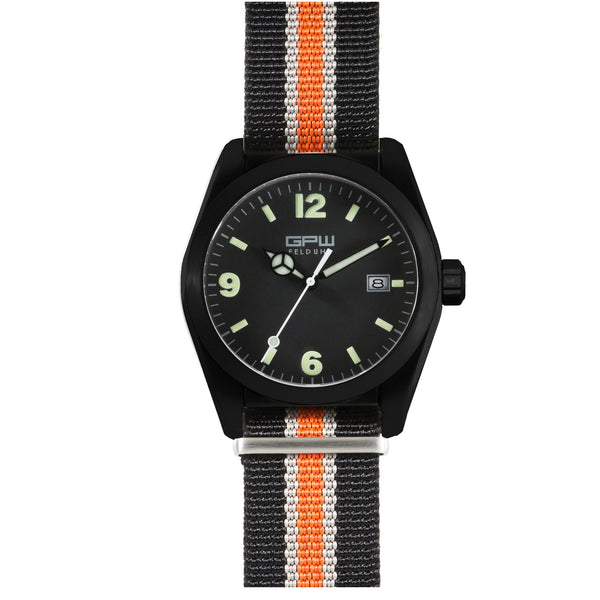 German Military Black Titanium Watch. GPW Fieldwatch 'B' Automatic. 200M W/R. Sapphire Crystal. Black White & Orange Nylon Strap.