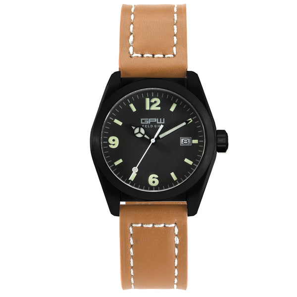 German Military Black Titanium Watch. GPW Fieldwatch 'B' Automatic. 200M W/R. Sapphire Crystal. Brown Leather Strap.