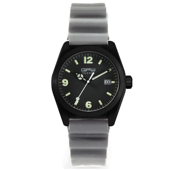 German Military Black Titanium Watch. GPW Fieldwatch 'B' Automatic. 200M W/R. Sapphire Crystal. Grey Field Rubber Strap.