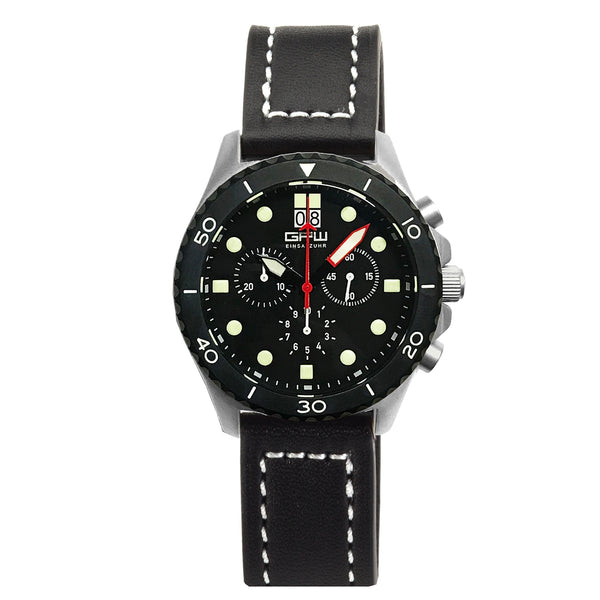 German Military Titanium Chronograph. GPW Mission Chrono. Big Date. 10 BAR W/R. Sapphire Crystal. Black Leatherstrap.