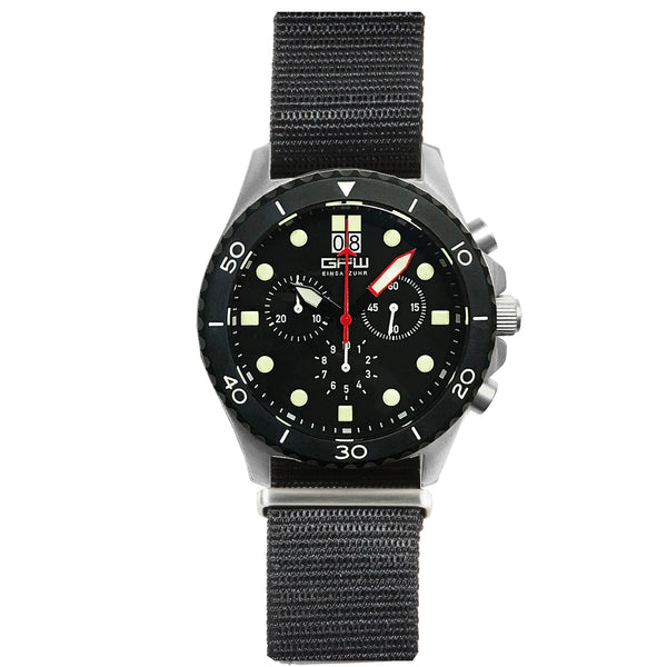 German Military Titanium Chronograph. GPW Mission Chrono. Big Date. 10 BAR W/R. Sapphire Crystal. Black Nylon Strap.