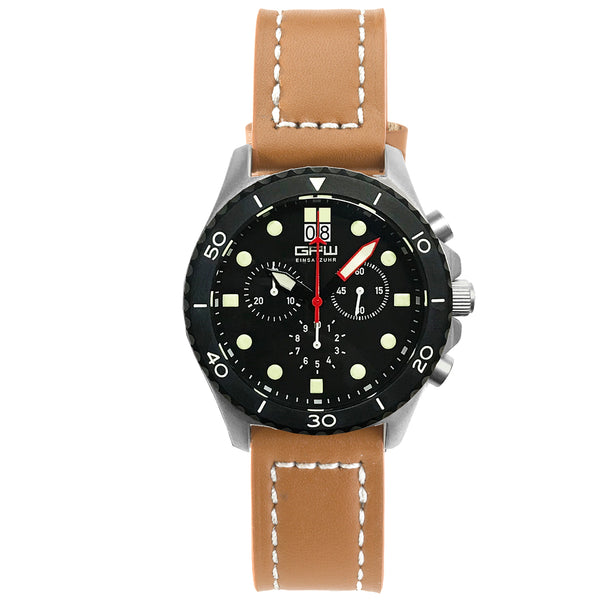 German Military Titanium Chronograph. GPW Mission Chrono. Big Date. 10 BAR W/R. Sapphire Crystal. Brown Leatherstrap.