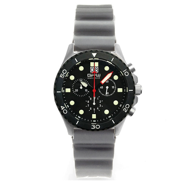 German Military Titanium Chronograph. GPW Mission Chrono. Big Date. 10 BAR W/R. Sapphire Crystal. Grey Field Rubber Strap.