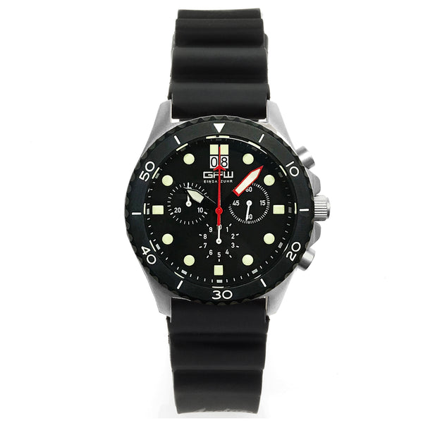 German Military Titanium Chronograph. GPW Mission Chrono. Big Date. 10 BAR W/R. Sapphire Crystal. Black Field Rubber Strap.