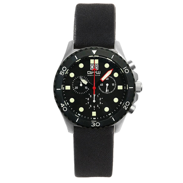German Military Titanium Chronograph. GPW Mission Chrono. Big Date. 10 BAR W/R. Sapphire Crystal. Soft Black Leatherstrap.