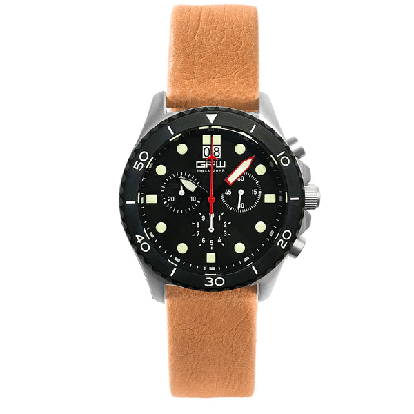 German Military Titanium Chronograph. GPW Mission Chrono. Big Date. 10 BAR W/R. Sapphire Crystal. Soft Brown Leatherstrap.
