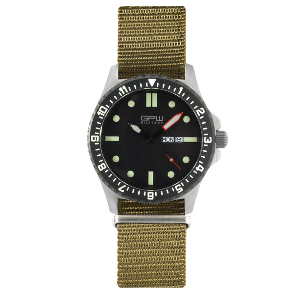 German Military Titanium Watch. GPW Day Date. 200M W/R. Sapphire Crystal. Olive Nylon Strap.