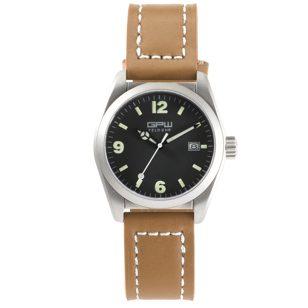 German Military Titanium Watch. GPW Fieldwatch Automatic. 200M W/R. Sapphire Crystal. Brown Leatherstrap with white stitching.