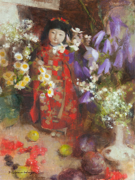 Fine art original Japanese doll still life oil painting by artist Maria Waye You get a one-of-a-kind, original work of art. Oil on linen 9x12 Toronto Canada. You're the only person who owns this unique treasure, and that is a special feeling. If you're passionate about art, then owning an original piece is a way to express who you are. You'll feel good to own art that resonates with you.