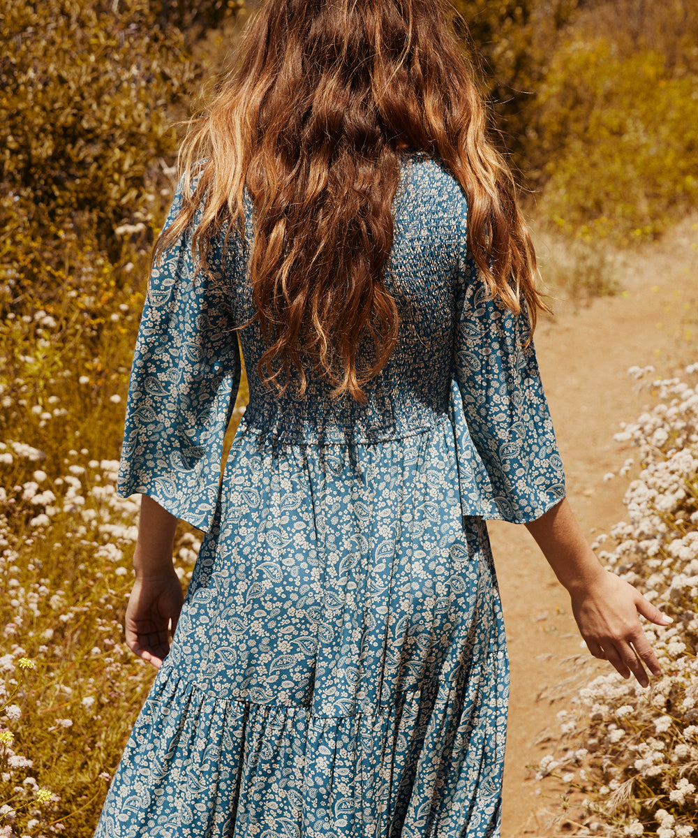 The Basil Dress | Teal Paisley